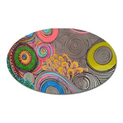 Rainbow Passion Oval Magnet by SugaPlumsEmporium