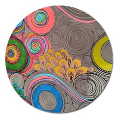 Rainbow Passion Magnet 5  (round) by SugaPlumsEmporium