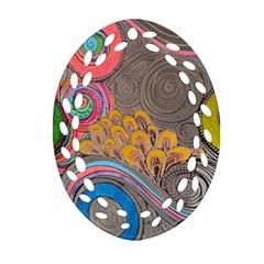 Rainbow Passion Oval Filigree Ornament (2 Side)  by SugaPlumsEmporium