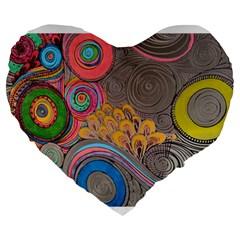 Rainbow Passion Large 19  Premium Flano Heart Shape Cushions by SugaPlumsEmporium
