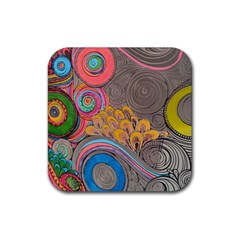 Rainbow Passion Rubber Square Coaster (4 pack)  by SugaPlumsEmporium