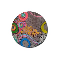 Rainbow Passion Rubber Coaster (round)  by SugaPlumsEmporium