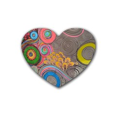 Rainbow Passion Rubber Coaster (Heart)  by SugaPlumsEmporium