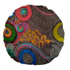 Rainbow Passion Large 18  Premium Round Cushions by SugaPlumsEmporium