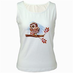 Owl Women s White Tank Top