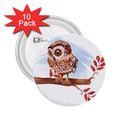 Owl 2 25  Buttons (10 Pack)
