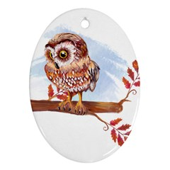 Owl Oval Ornament (two Sides) by TastefulDesigns