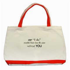 Wedding Favor/thank You Classic Tote Bag (red) by LittileThingsInLife