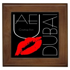 Greetings From Dubai  Red Lipstick Kiss Black Postcard Uae United Arab Emirates Framed Tiles by yoursparklingshop
