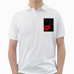 Greetings From Dubai  Red Lipstick Kiss Black Postcard Uae United Arab Emirates Golf Shirts by yoursparklingshop
