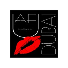 Greetings From Dubai  Red Lipstick Kiss Black Postcard Uae United Arab Emirates Acrylic Tangram Puzzle (4  X 4 ) by yoursparklingshop