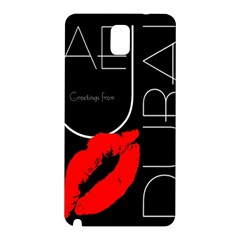 Greetings From Dubai Red Lipstick Kiss Black Postcard Uae Emirates Samsung Galaxy Note 3 N9005 Hardshell Back Case by yoursparklingshop