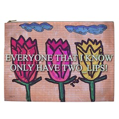 Two Lips   Tulips Cosmetic Bag (xxl)  by SugaPlumsEmporium