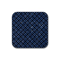 Woven2 Black Marble & Blue Marble Rubber Coaster (square) by trendistuff
