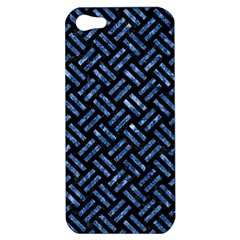 Woven2 Black Marble & Blue Marble Apple Iphone 5 Hardshell Case by trendistuff