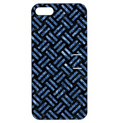 Woven2 Black Marble & Blue Marble Apple Iphone 5 Hardshell Case With Stand by trendistuff