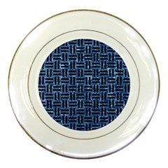 Woven1 Black Marble & Blue Marble (r) Porcelain Plate by trendistuff