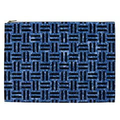 Woven1 Black Marble & Blue Marble (r) Cosmetic Bag (xxl)