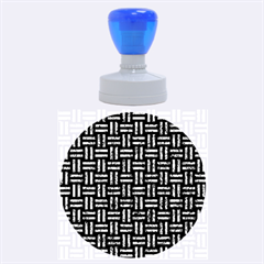 Woven1 Black Marble & Blue Marble Rubber Stamp Round (large) by trendistuff