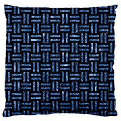 Woven1 Black Marble & Blue Marble Large Flano Cushion Case (two Sides) by trendistuff