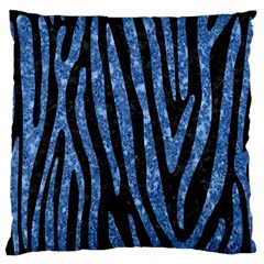Skin4 Black Marble & Blue Marble (r) Large Flano Cushion Case (two Sides) by trendistuff