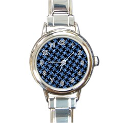 Houndstooth2 Black Marble & Blue Marble Round Italian Charm Watch by trendistuff