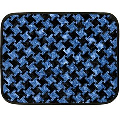 Houndstooth2 Black Marble & Blue Marble Double Sided Fleece Blanket (mini) by trendistuff