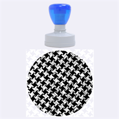 Houndstooth2 Black Marble & Blue Marble Rubber Stamp Round (large) by trendistuff
