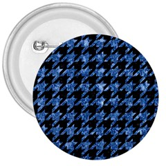Houndstooth1 Black Marble & Blue Marble 3  Button by trendistuff