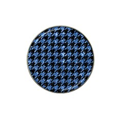 Houndstooth1 Black Marble & Blue Marble Hat Clip Ball Marker (4 Pack) by trendistuff