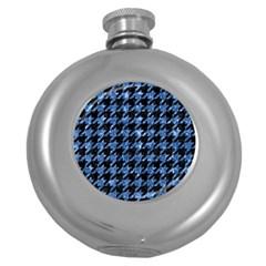 Houndstooth1 Black Marble & Blue Marble Hip Flask (5 Oz) by trendistuff