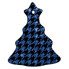 Houndstooth1 Black Marble & Blue Marble Ornament (christmas Tree)  by trendistuff