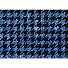 Houndstooth1 Black Marble & Blue Marble Birthday Cake 3d Greeting Card (7x5)