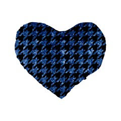 Houndstooth1 Black Marble & Blue Marble Standard 16  Premium Flano Heart Shape Cushion  by trendistuff