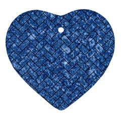 Brick2 Black Marble & Blue Marble (r) Heart Ornament (two Sides) by trendistuff
