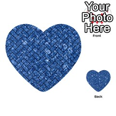 Brick2 Black Marble & Blue Marble (r) Multi Purpose Cards (heart) by trendistuff