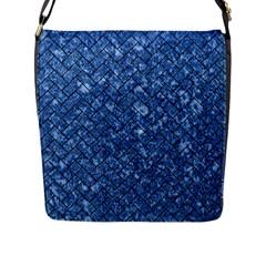 Brick2 Black Marble & Blue Marble (r) Flap Closure Messenger Bag (l) by trendistuff