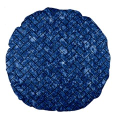 Brick2 Black Marble & Blue Marble (r) Large 18  Premium Flano Round Cushion  by trendistuff