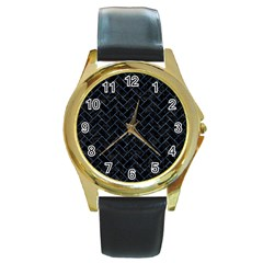 Brick2 Black Marble & Blue Marble Round Gold Metal Watch by trendistuff