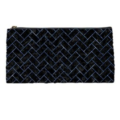 Brick2 Black Marble & Blue Marble Pencil Case by trendistuff