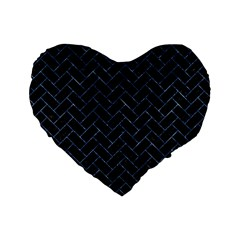 Brick2 Black Marble & Blue Marble Standard 16  Premium Flano Heart Shape Cushion  by trendistuff