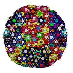 Star Of David Large 18  Premium Flano Round Cushions by SugaPlumsEmporium