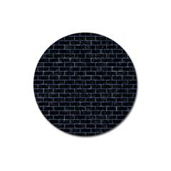 Brick1 Black Marble & Blue Marble Magnet 3  (round) by trendistuff