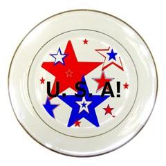 The Patriot Usa Porcelain Plates by SugaPlumsEmporium
