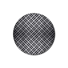 Woven2 Black Marble & Silver Brushed Metal (r) Rubber Round Coaster (4 Pack) by trendistuff