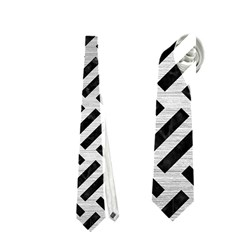 Woven2 Black Marble & Silver Brushed Metal (r) Necktie (two Side) by trendistuff