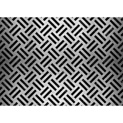 Woven2 Black Marble & Silver Brushed Metal (r) Birthday Cake 3d Greeting Card (7x5)