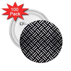 Woven2 Black Marble & Silver Brushed Metal 2 25  Button (100 Pack) by trendistuff