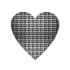 Woven1 Black Marble & Silver Brushed Metal (r) Magnet (heart)