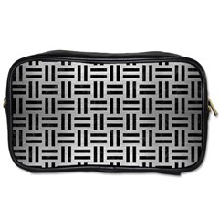Woven1 Black Marble & Silver Brushed Metal (r) Toiletries Bag (one Side) by trendistuff